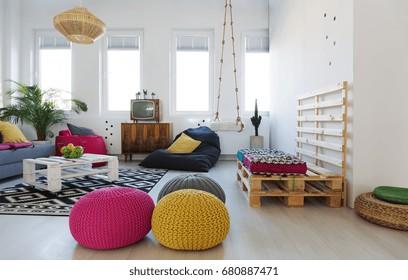 Retro colorful creative chillzone in modern apartment