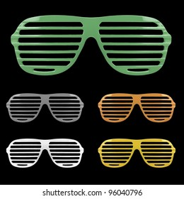 Retro colorful shades sunglasses isolated on black background