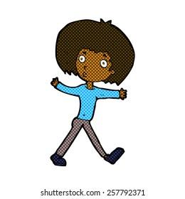 retro comic book style cartoon surprised man walking