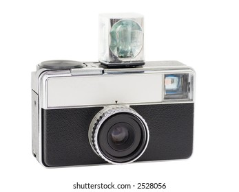 Retro Compact Camera with Flash Cube, isolated on white, with clipping path