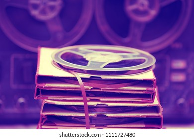 Retro composition from tape record and boxes