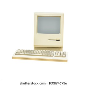 Retro computer isolated on a white background