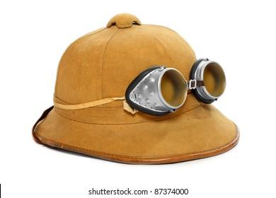 Retro cork helmet for tropical destination. Isolated on white background.