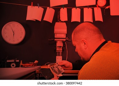 Retro darkroom in red light. Adult photographer looking at old black and white photo.