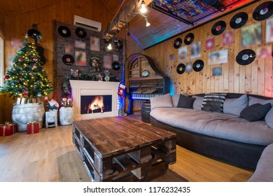 Retro decorated interior of log cabin