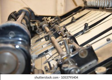 Retro die-cutting machine, close up, printing work