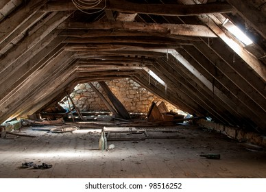 a retro dilapidated attic
