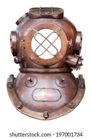Retro diving helmet isolated