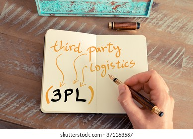 Retro effect and toned image of a woman hand writing a note with a fountain pen on a notebook. Business acronym 3PL THIRD PARTY LOGISTICS with handwritten text