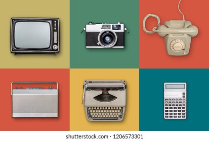 retro eighties electronics items background