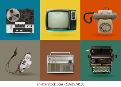 Retro electronics set. Nostalgic collectibles from the past 1980s - 1990s. objects isolated on retro color palette with clipping path.