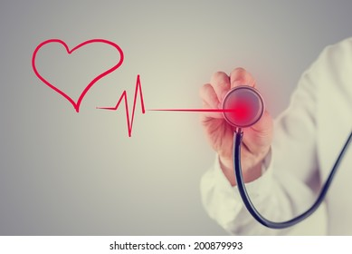 Retro faded effect image of a healthy heart and cardiology concept with a hand-drawn red heart linked to the disc of a stethoscope by a heartbeat tracing as a doctor listens to the sound.