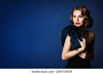 Retro Fashion Glamour Model Beauty Portrait, Old Fashioned Woman Make Up and Wave Hairstyle over Blue