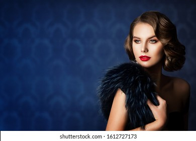 Retro Fashion Model Beauty Portrait, Old Fashioned Woman Make Up and Hairstyle