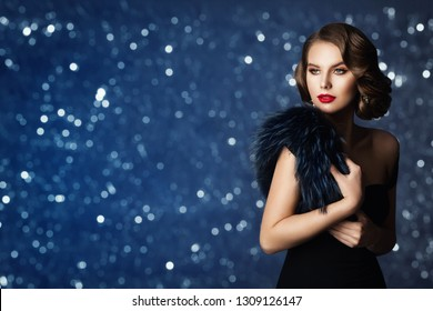 Retro Fashion Model Portrait, Old Fashioned Woman Beauty, Hairstyle Makeup, Beautiful Jewelry and Fur, over blue background