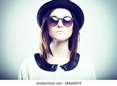 Retro fashion portrait of stylish young woman