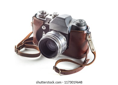 Retro film camera and belt bag (leather case) on white background