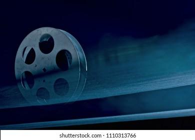 retro film reel on dark background