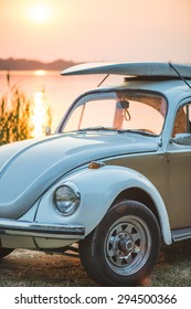 Retro Filtered Style Surfboards on A beetle