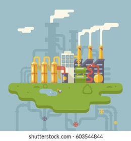 Retro Flat Factory Refinery plant Manufacturing Products Processing Natural Resources with Distribution Network Pipes Concept  Illustration