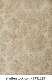 retro floral damask wallpaper in tan and brown design