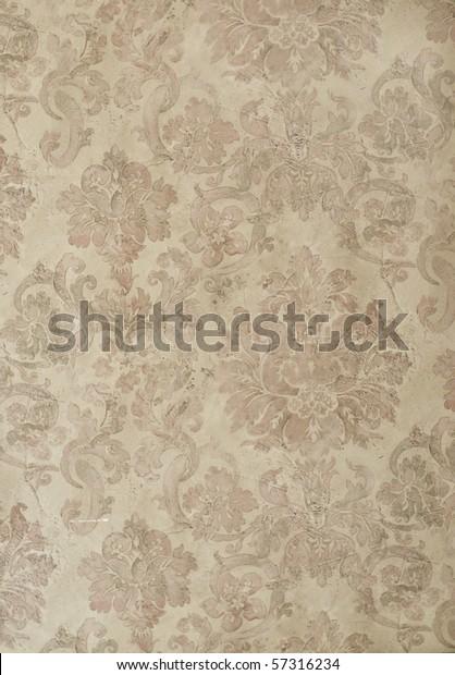 retro floral damask wallpaper in tan and brown design