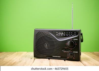 Retro AM FM Radio on wood board
