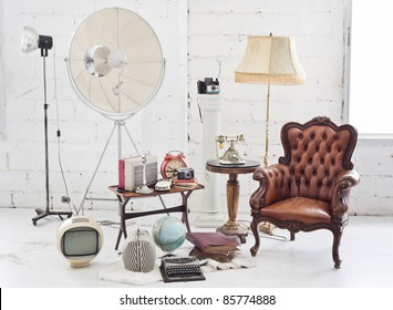 retro furniture and decoration in white room