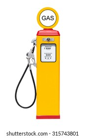Retro gas pump isolated on white background