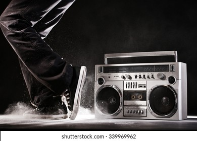 Retro ghetto blaster, dust and dancer isolated on black background with clipping path