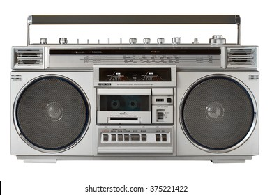retro ghetto blaster isolated with clipping path