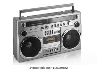 Retro ghetto blaster isolated on white.