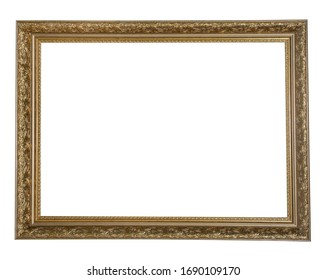 Retro gold or bronze frame with delicate patterns for photos, text, images or paintings, isolated on a white background