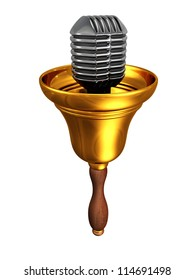 retro golden bell with microphone on white background