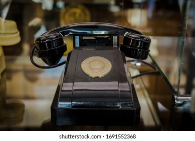 Retro  government communications telephone with the emblem of the Soviet Union.