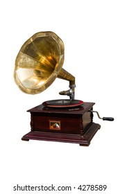 retro gramophone with disc isolated over white background