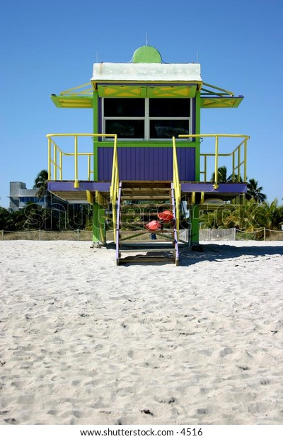 retro green and blue lifeguard shack