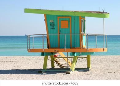 retro green, blue and orange lifeguard shack