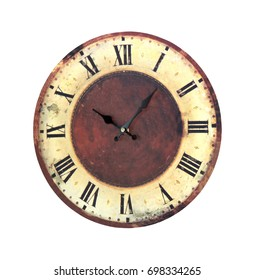 Retro grunge clock isolated with clipping path included