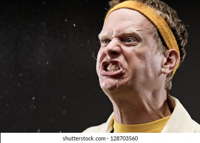 Retro Gym Coach Cursing With Spit Flying Out Of His Mouth
