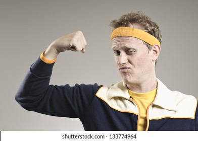 Retro Gym Coach Flexing His Pathetic Muscles