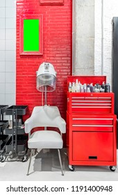 Retro hair dryer in a beauty salon. Vintage hair salon interior business . Indoor frame mockup.