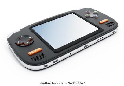 Retro handheld video game device isolated on white background