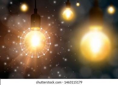 Retro hanging light bulb glowing,innovative concept development and creative of technology,design and creativity innovation,energy saving and renewable vitality generation