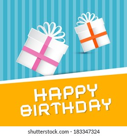 Retro Happy Birthday Theme, Present Boxes on Colorful Recycled Paper Background
