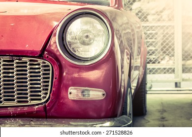 Retro headlight of vintage car