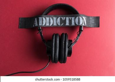 Retro headphones music addicted