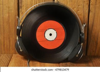 retro headphones and vinyl records