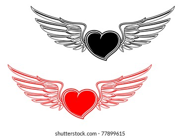 Retro heart with wings for tattoo design. Vector version also available in gallery