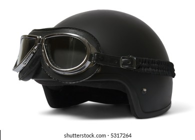 Retro helmet and goggles motorcyclist's